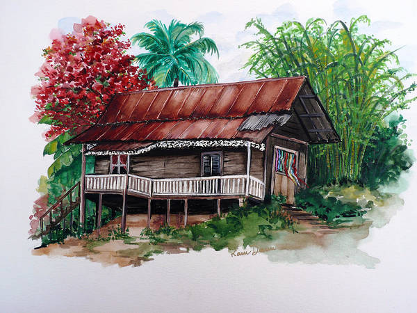 Tropical Painting Poincianna Painting Caribbean Painting Old House Painting Cocoa House Painting Trinidad And Tobago Painting  Tropical Painting Flamboyant Painting Poinciana Red Greeting Card Painting Art Print featuring the painting The Old Cocoa House by Karin Dawn Kelshall- Best