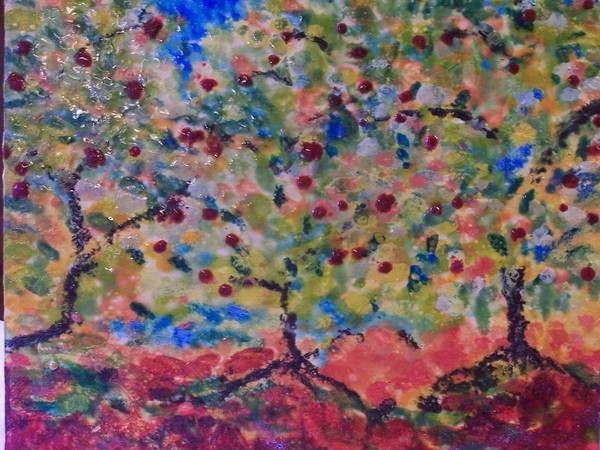 Landscape Art Print featuring the painting The Orchard by Karla Phlypo-Price