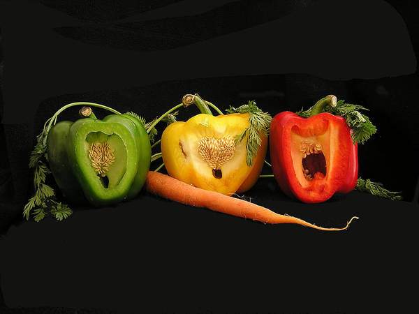 Pepper Art Print featuring the photograph The Pepper Trio by Carol Milisen