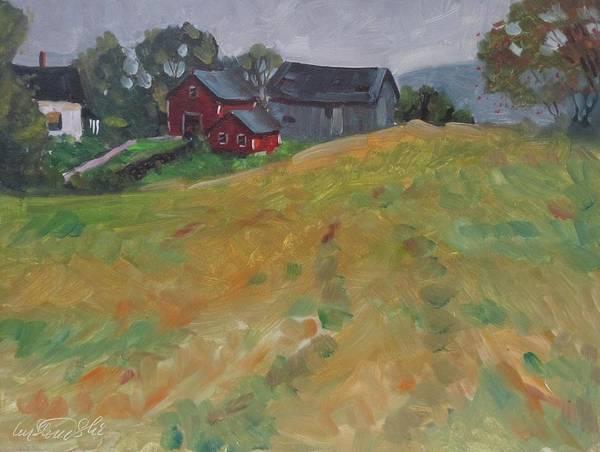V Schneider Farm Art Print featuring the painting The Schneider Farm by Len Stomski