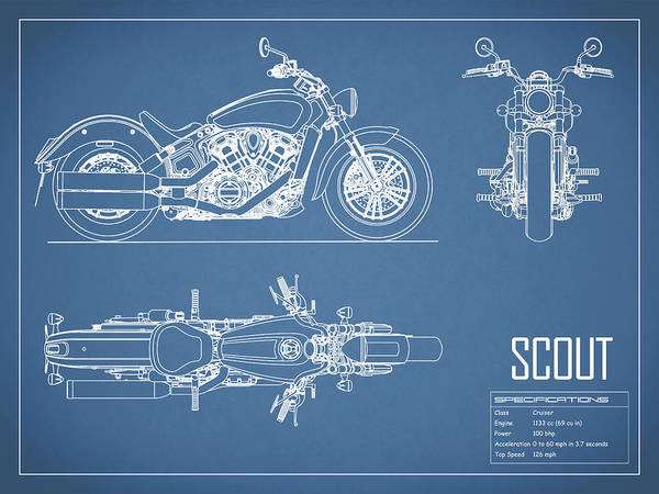 The scout motorcycle blueprint art print by mark rogan motorcycle art print featuring the photograph the scout motorcycle blueprint by mark rogan malvernweather Images
