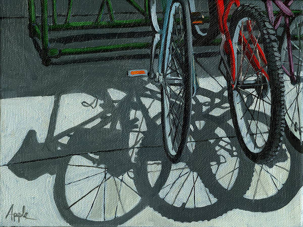 Bicycles Art Print featuring the painting The Secret Meeting - Bicycle Shadows by Linda Apple