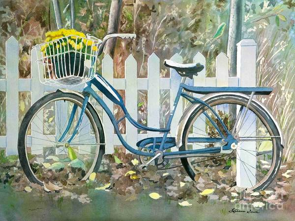 Cyclists Art Print featuring the painting The Special Delivery by LeAnne Sowa