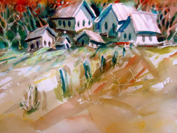 Old Buildings Art Print featuring the painting The Town On Shaky Ground by Steven Holder