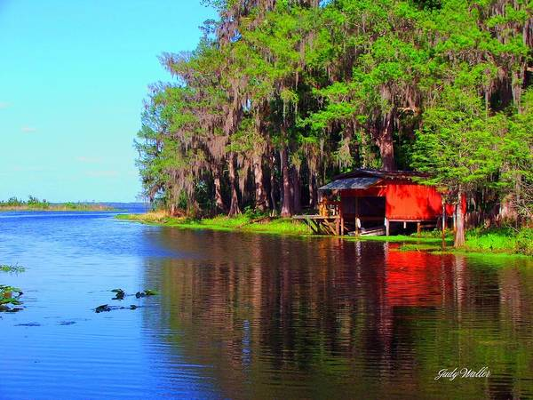 Lake Art Print featuring the photograph The View From The Bench by Judy Waller