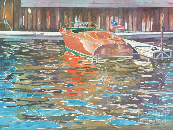 Boats Art Print featuring the painting The Wooden Boat by LeAnne Sowa