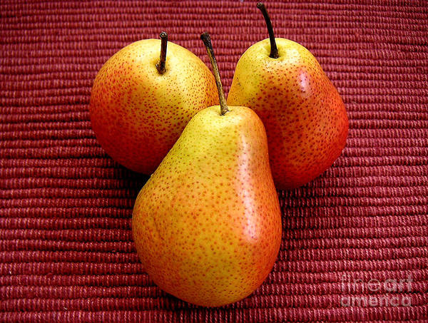 Nature Art Print featuring the photograph Three Pears by Lucyna A M Green