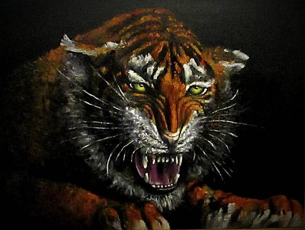 Animal Art Print featuring the painting Tiger-1 Original Oil Painting by Natalja Picugina