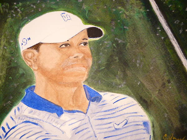 Tiger Woods Golf Golfing Swing Club Hat Shirt Golf Course Champ Nike Art Print featuring the painting Tiger by Cathy Jourdan