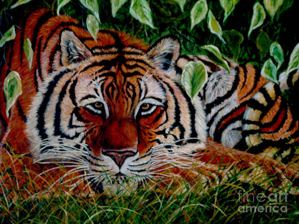 Tiger Art Print featuring the painting Tiger In Jungle by Nick Gustafson