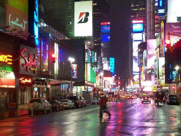 Times Square Art Print featuring the photograph Times Square In The Rain 2 by Anita Burgermeister