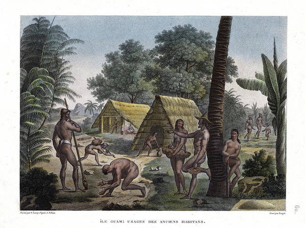 Guam Art Print featuring the drawing Traditional Customs Of The Chamorro Classes by d Apres A Pellion