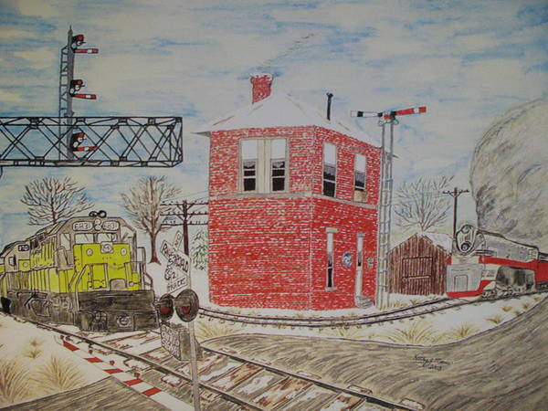 Train Art Print featuring the painting Trains In Motion by Kathy Marrs Chandler
