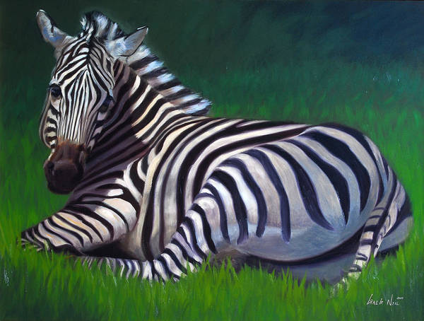 Zebra Art Print featuring the painting Tranquility by Greg Neal