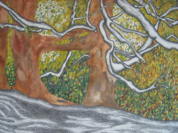 Trees Art Print featuring the painting Trees by Theodora Dimitrijevic