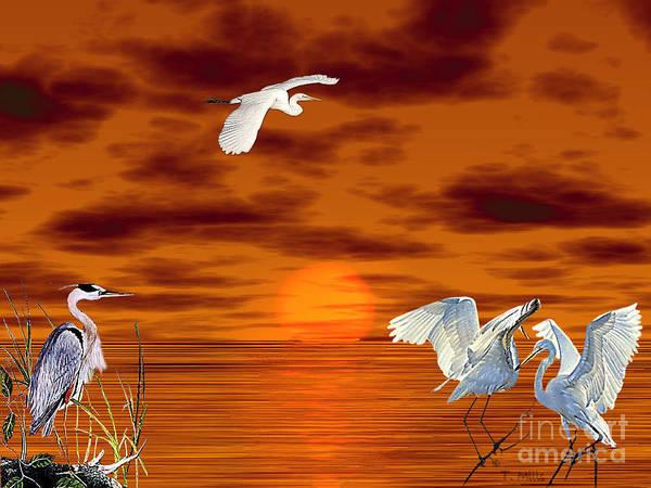 Egret Art Print featuring the digital art Tropical Birds And Sunset by Terri Mills