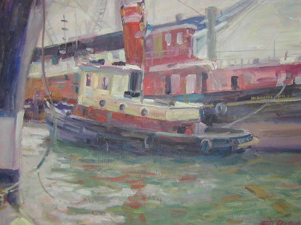 Tug Boat In South St Seaport . Art Print featuring the painting Tug Boat by Bart DeCeglie