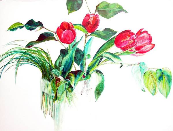 Flower Art Print featuring the painting Tulipes by Muriel Dolemieux