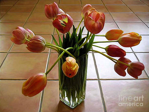 Nature Art Print featuring the photograph Tulips In A Vase On Tile by Lucyna A M Green