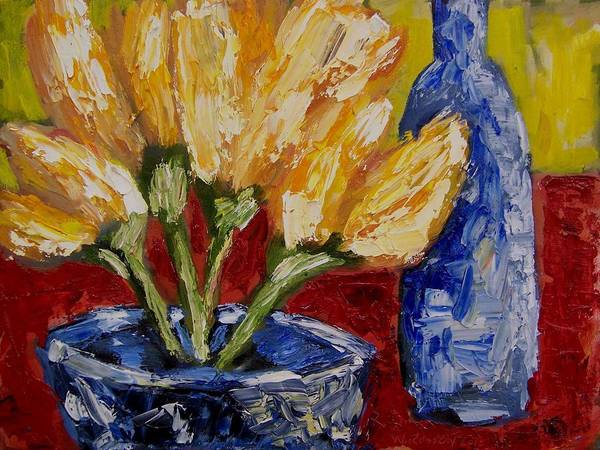 Flowers Art Print featuring the painting Tulips With Blue Bottle by Windi Rosson