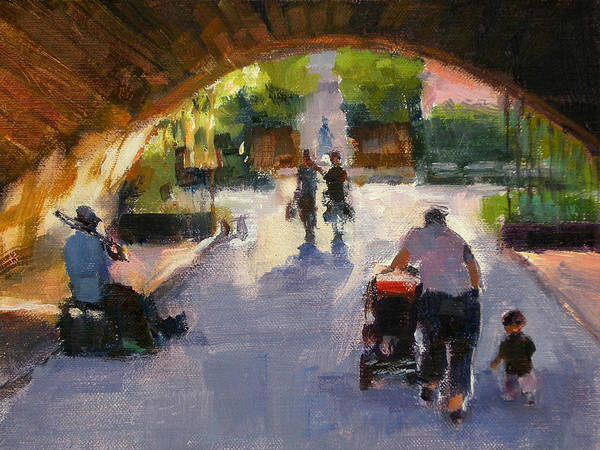 Urban Landscape Art Print featuring the painting Tunnel In Central Park by Merle Keller