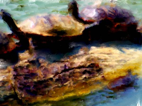 Turtle Art Print featuring the painting Turtles On A Log by Brian Reaves