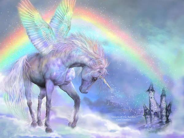 Unicorn Art Print featuring the mixed media Unicorn Of The Rainbow by Carol Cavalaris