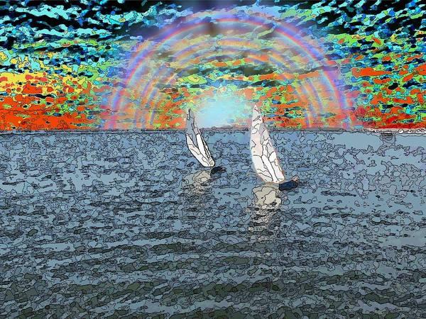Sunset Art Print featuring the digital art Unto The Sunset We Sail My Love by Tim Allen