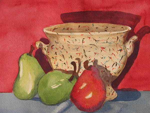 Pears Art Print featuring the painting Urn With Pears by Libby Cagle