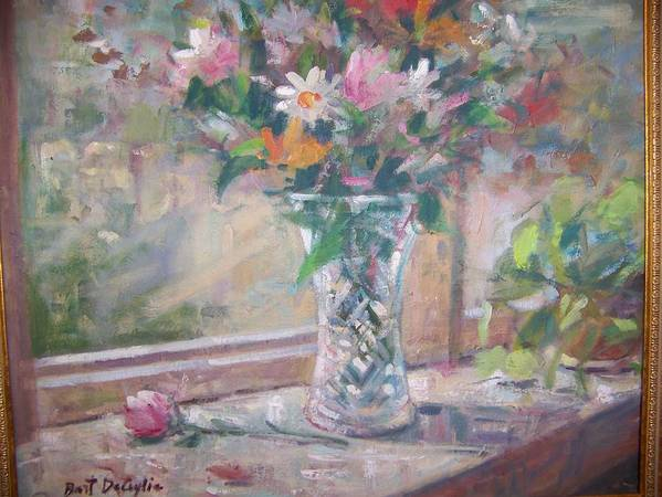 Glass Vase With Mixed Flowers On Window Sill Art Print featuring the painting Vase And Flowers In Window Sill. by Bart DeCeglie