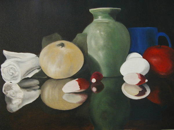 Still Life Art Print featuring the painting Vase With Radishes by Angelo Thomas