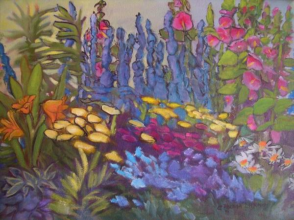 Oil Painting Art Print featuring the painting Vic Park Garden by Carol Hama Chang