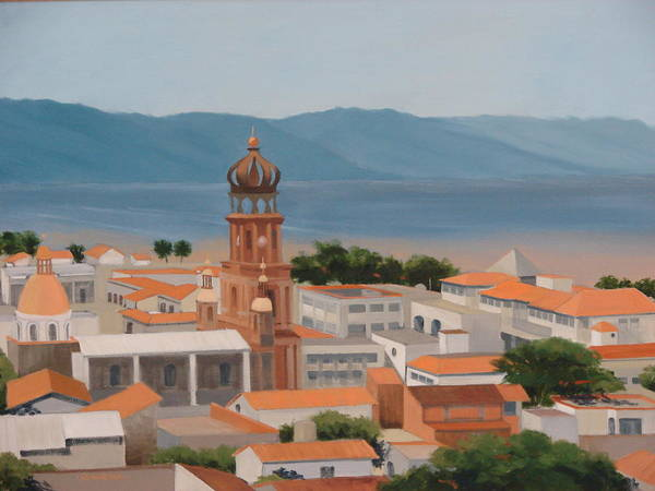 Mexico Art Print featuring the painting View Over Puerto Vallarta by Robert Rohrich