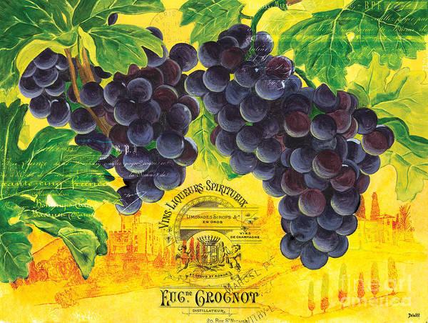 Grapes Art Print featuring the painting Vigne De Raisins by Debbie DeWitt