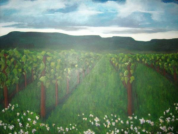 Landscape Art Print featuring the painting Vineyard Angel by Jessica Meredith