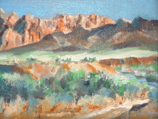 Landscape At First Light Virgin River Gorge Mesquite Art Print featuring the painting Virgin River Gorge by Bryan Alexander