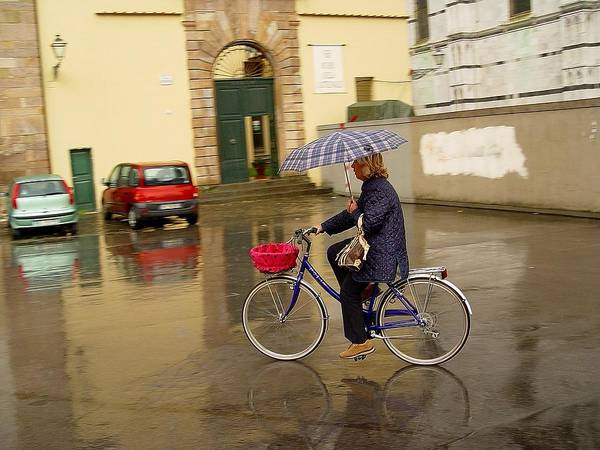 Lady On Bicycle Art Print featuring the photograph Visions Of Italy Lucca by Nancy Bradley