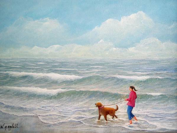 Seascape Art Print featuring the painting Wading With Willy by William H RaVell III