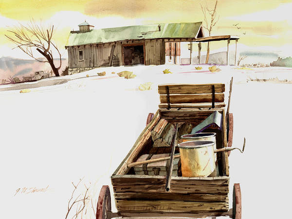 Watercolor Art Print featuring the painting Wagon At White Sands by John Norman Stewart