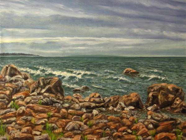 Sea Art Print featuring the painting Waiting For A Rain by Maren Jeskanen