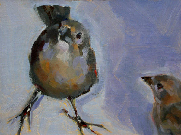 Birds Art Print featuring the painting Waiting For Snacks by Merle Keller