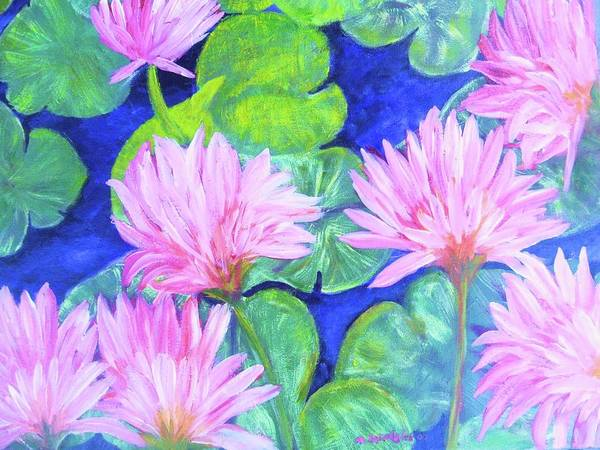 Water Art Print featuring the painting Water Lillies by Michael Schedgick