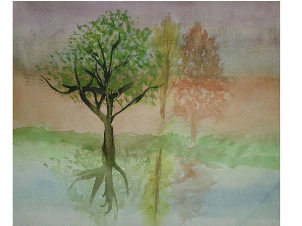 Landscape Art Print featuring the painting Water Trees by Hal Newhouser