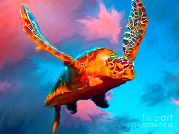Turtle Art Print featuring the painting When Turtles Fly by Everett White