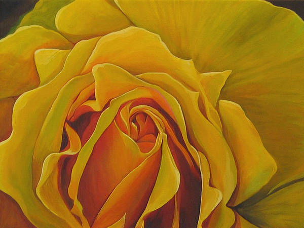 Yellow Rose Art Print featuring the painting Where The Rose Is Sown by Hunter Jay