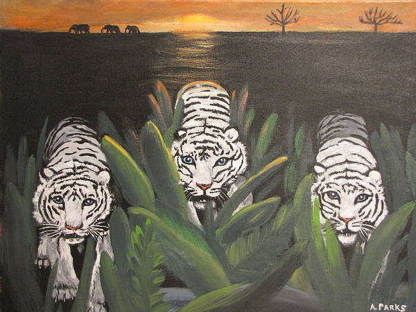 Tiger Art Print featuring the painting White Tiger Encounter by Aleta Parks