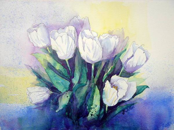 White Tulips Art Print featuring the painting White Tulips by Judy Fischer Walton