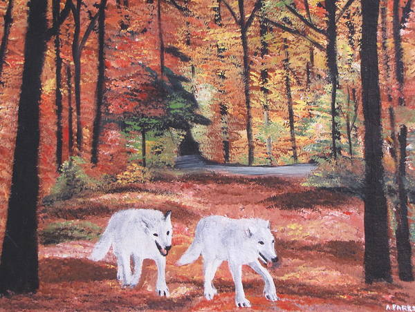 Wolves.wolf Art Print featuring the painting White Wolves Passing Through by Aleta Parks