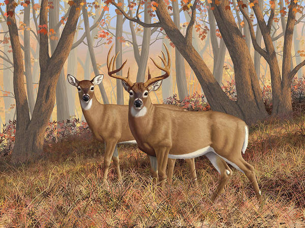 Deers Art Print featuring the digital art Whitetail Deer Painting - Fall Flame by Crista Forest