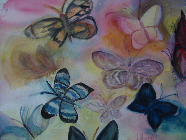 Butterfly Art Print featuring the painting Who Is Prettiest by Marian Hebert